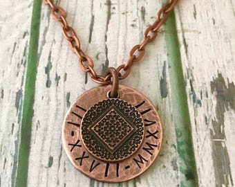 """Custom NECKLACE: NA Recovery Charm on a 1"""" Rustic Look Metal WASHER - Recovery Date, Roman Numerals, Motivational Saying"""