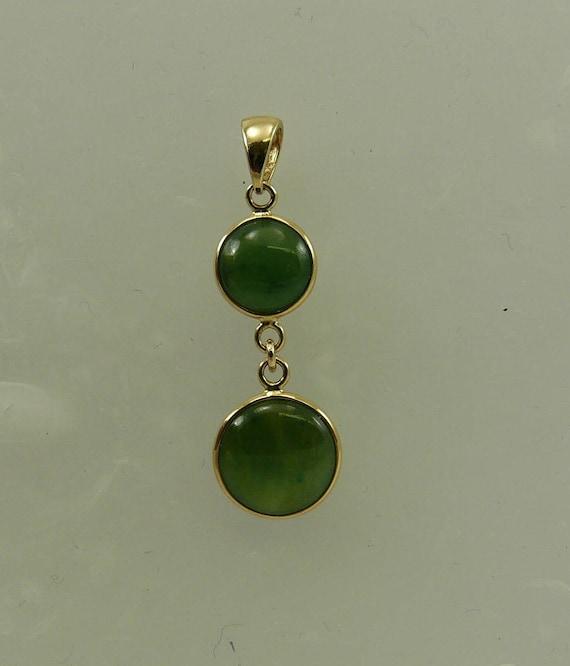 Green Jade Pendant 14k Yellow Gold