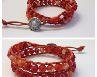 Leather wrap bracelet with 6mm Carnelian (natural) Faceted beads