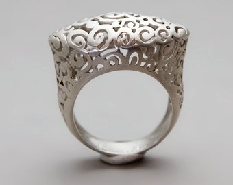 Unique Silver Ring, Silver Filigree Ring, Boho Silver Ring, Victorian Ring, Statement Ring, Sterling Silver, Gold, Rose Gold , Gift For Mom