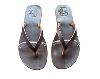 The Sprinkle - Brown-Silver Leather Sandals for Men & Women - African Design - Handmade Leather Sandals, Casual Brown Leather Flats