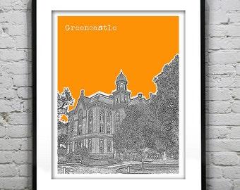 Greencastle Indiana Skyline Poster Art Print Depauw IN Version 1