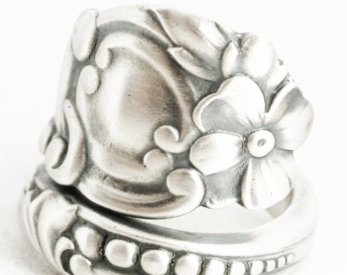 Victorian Floral Spoon Ring in Sterling Silver,Forget Me Not Flower with Rococo Swirl Ring, Gorham No 567 ca 1900, Custom Ring Size (7054)