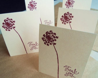 Blank thank you note card set, hand stamped burgrundy dandelion stationery with matching envelopes, set of 10.