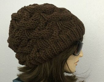 Women Chunky Knit Hat Brown Slouchy Hat Womens Accessories Fall Fashion Winter Hat