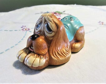 Vintage Pendelfin Pooch with Blue Blanket 1980s Dog Figurine by Stonecraft England