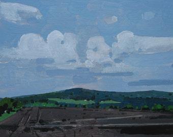 Peinture de paysage originale sur panneau, juin Haze, encadré, Canada
