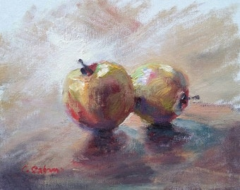 Oil painting Still life, green and red apples, 10x8in Fruit Painting, impressionist style art