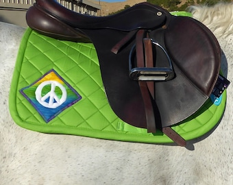 Be Brave! Green English Saddle Pad for All Purpose Saddles from The Summer Love Collection LA-77