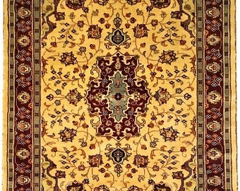 Persian Kirman Hand Knotted Silk Wool Rug
