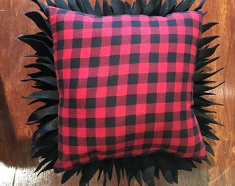 Black and Plaid Pillow