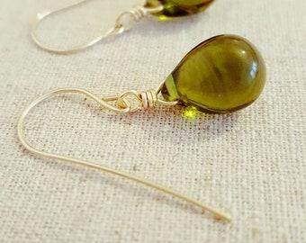 Olive Earrings • Green Drop Earrings • Green Teardrop Earrings • Green Jewelry •  Olive Green Earrings • Green Gold Earrings • 14k Gold Fill