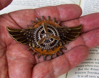 Steampunk Aviator Pin III (P751) Bronze Alloy Wings and Gears, Brass Propeller, Tie Tack Backing