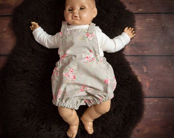 Baby Romper Vintage Floral Photo Shoot / Photography Outfit 6 - 12 Months Grey / Pink