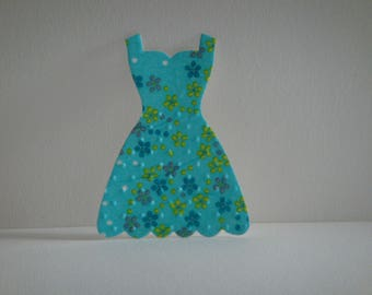 Cutout dress collage napkin with flowers