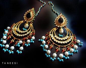 Gold kundan earrings,Black onyx Turquoise Blue Pearl Chandelier Earrings,ferozaa Indian Jewellery,Real gemstone earrings,Mughal jewellery