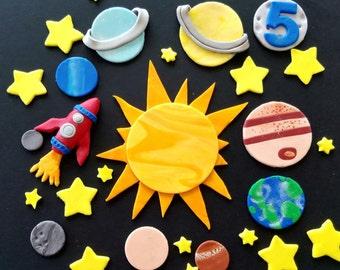 Fondant cake topper set--9 planets, 1 sun, rocket, moon and 36 stars