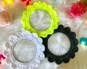 Crochet flower frame