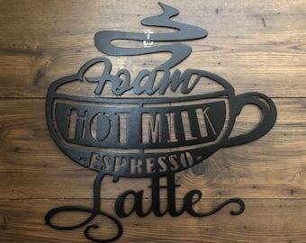 Latte Metal Wall Decor/Metal Coffee Sign/Metal Wall Hanging/Birthday/Wedding/Anniversary/Housewarming Gift