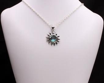 Abalone Pearl Sun Pendant Necklace