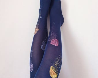 Unique tights for women with hand painted motives - Jelly
