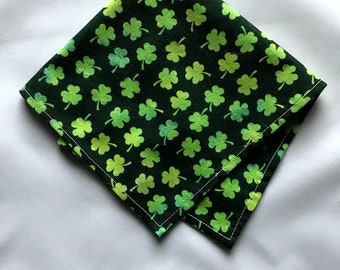 Pet Scarf Size Medium READY TO SHIP St. Patrick's Day Holiday Scarf for Dog or Puppy Green Clover on Black Background 100% Cotton Fabric