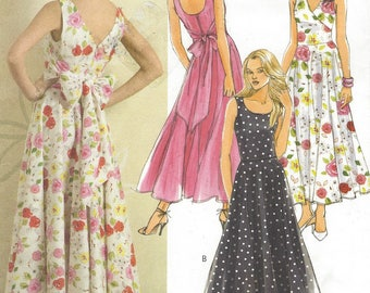 Womens Above Ankle Sundress Scoop or V Neckline Summer Dress OOP Butterick Sewing Pattern B4795 Size 6 8 10 12 Bust 30 1/2 to 34 UnCut