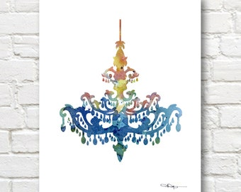 Vintage Chandalier Watercolor Art Print - Abstract Painting - Wall Decor