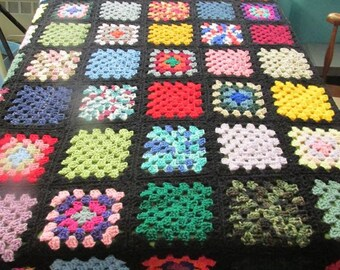 Handcrafted Twin Size Granny Square Afghan Black Trim