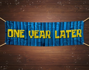 Instant Download Spongebob Squarepants One Year Later Blue Party Banner - 3x1, 4x2, 6x2