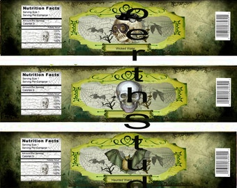 Halloween printable water bottle wrappers label Macabre Gothic Grunge Skeleton instant download