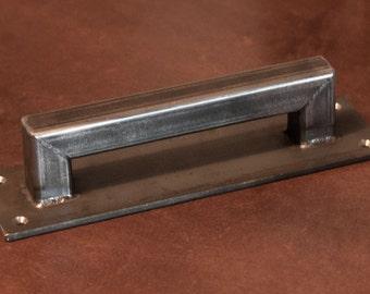 """1"""" Steel Sliding Barn Door Handle *LOW PROFILE - Loft Door, Industrial Door 10"""" - 26"""""""