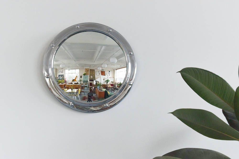 Vintage kleine Runde Silber gerahmt Fisch-Auge-Wand-Spiegel