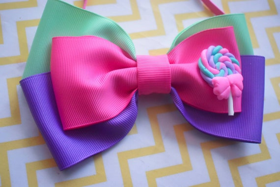 Pink, Mint and Lilac Candy Grosgrain Ribbon Bow  - Baby / Toddler / Girls / Kids Headband / Hairband / Hair bow / Barette / Hairclip