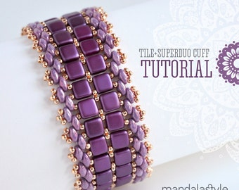 Tile+Superduo Cuff Tutorial by MandalaStyle