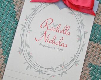 Coral Celebration Leaf Wreath Booklet Wedding Invitation - Sample