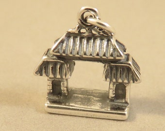 Sterling Silver 3-D CHINESE GATE Charm Pendant Asian Japan Temple Shrine Oriental China Town Asia Arch  .925 Sterling Silver New tr102