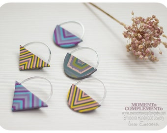 Geometric Brooches handmade with polymer clay & aluminium.  Stripes pattern with geometric designs pin.