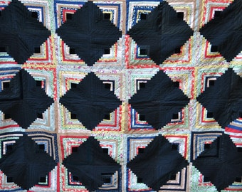 Antique Handmade Log Cabin Quilt Blanket Quilting Squares Antique Quilt Black Red White Purple Quilts Antique Sewing Quilting FREE SHIPPING