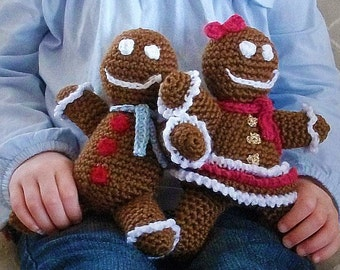 Download Now - CROCHET PATTERN Gingerbread Boy and Girl Amigurumi - Pattern PDF