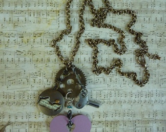 """Inspirational Industrial Chic Necklace, Pewter Key, Mauve Keyhole Heart & Aqua Bead+Brass Gear+Live and Let Live Brass Locket 36""""Brass Chain"""