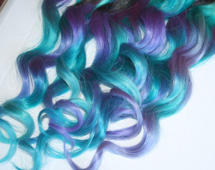 Blue And Purple Clip In Hair Extensions Ombre Hair Tie Dye