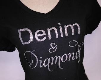 Denim & Diamonds T-Shirt - Denim and Diamonds Tee - Denim Bling T-Shirt - Diamonds T-Shirt - Denim and Diamonds Apparel