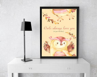 Personalized Owl print, owl illustration, bird print, bird art, wildlife print, owl decor, nursery decor, animal, Owl always love you
