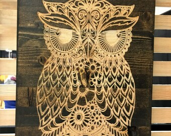 Owl carved in wood