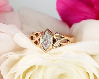 8x4mm Marquise NEO Moissanite Celtic Engagement Ring Bezel Set in Rose Gold (available in white gold, rose gold, yellow gold and platinum)
