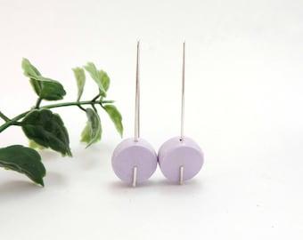 Lilac earrings, Purple earrings, Circle earrings, Drop earrings, Wedding earrings, Bridesmaid jewelry, Free shipping, Clay, Long hooks