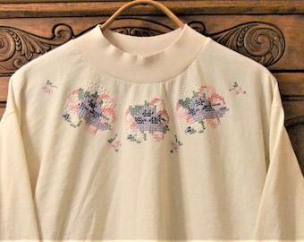 "80's Long sleeve T shirt,48"" Chest,Light Creamy Beige,Pullover,Puff Paint Cross Stitch Purple,pink Flowers,Tunic Boxy Oversized"