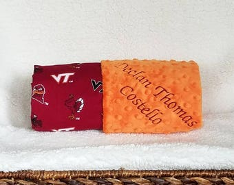 Virginia Tech Baby Blanket Boy and Girl Baby Shower Gift PERSONALIZED Name Embroidery Monogram Minky Football Basketball