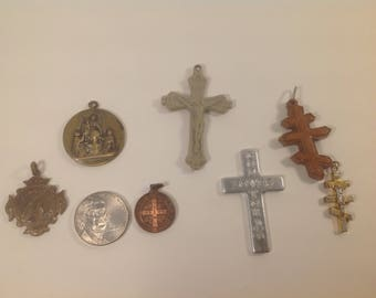 Vintage catholic religious jewelry catholic pendants crosses, vintage catholic relics crucifix lot crosses destash, antique religious lot,